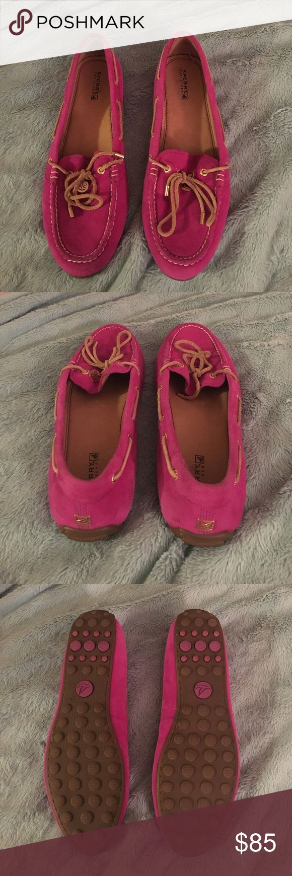Pink Sperry Boat shoes Only worn once.. comfy and it great condition! No trades! Sperry Top-Sider Shoes Flats & Loafers
