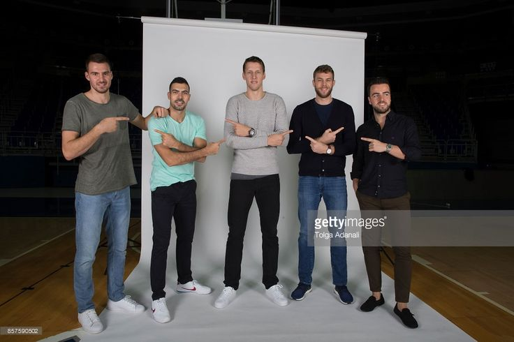Marko Guduric, #23; Kostas Sloukas, #16; Jan Vesely, #24; Nicolo Melli, #4 and Melih Magmutoglu, #10 poses during Fenerbahce Dogus Istanbul 2017/2018 Turkish Airlines EuroLeague Media Day at Ulker Sports Arena on October 2, 2017 in Istanbul, Turkey.
