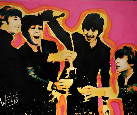"""""""Come Together"""" The Beatles.velebrate the Beatles with this original art by Stacey Wells. Stacey Wells is known for her vibrant Vintage Hollywood Pop art. Sure to start a conversation and set the mood for fun in your space. Order today"""
