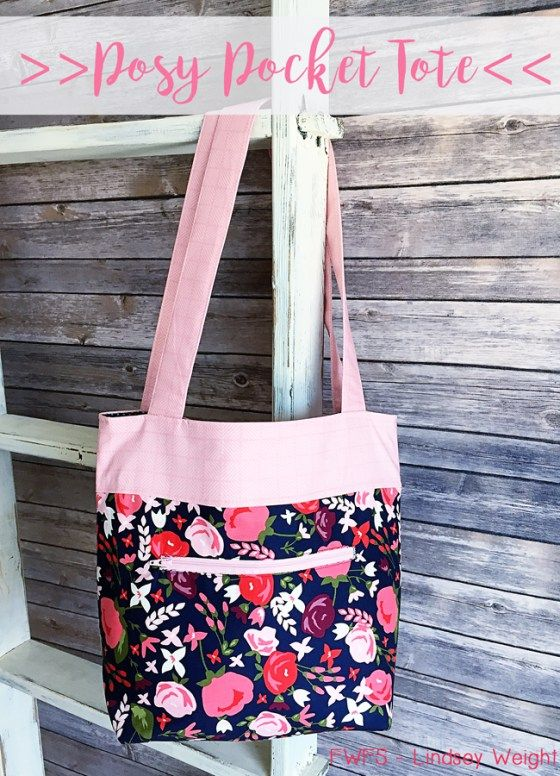 The Pretty Posy tote sewing tutorial featured at PatternPile.com