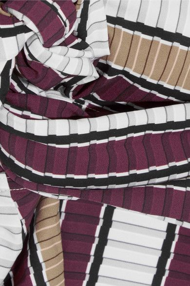 Karla Colletto - Palazzo Striped Wrap Swimsuit - Burgundy - US14