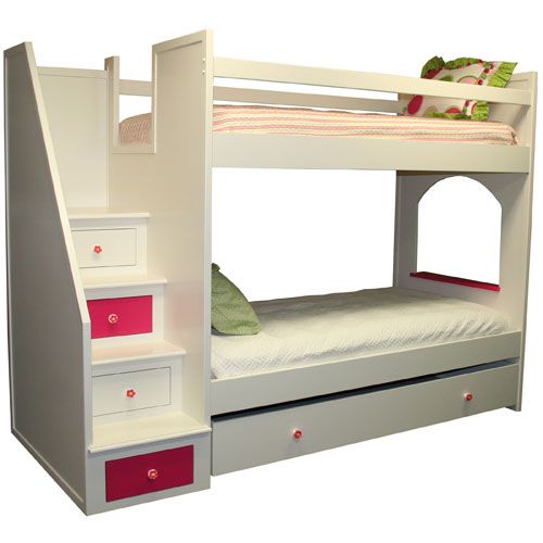 The kind of thing I want to build --- stairs with storage.  Roxanne Bunk Bed : Bunk Beds at PoshTots