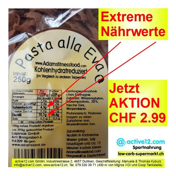 70.7 % Protein und nur 4.3 % Kohlenhydrate - Extreme Nährwerte: Pasta alla Eva ►►► Jetzt AKTION CHF 2.99 #AdamsFitnessFood #Adam #Lapiniak #Eva #PastaallaEva #Nudeln #Erbsenprotein #Eier #lowcarb #lowcarbs #lowcarbschweiz #fitness #fitnessschweiz #lowcarbswitzerland #lowcarbfood #lowcarbdiet #highprotein #hoherProteingehalt #Muskelaufbau #Bodybuilding #Kraftsport #abnehmen #abnehmenschweiz #eatclean #fitness #fitnessschweiz #natural #active12