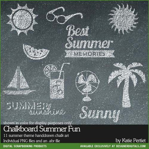 Chalkboard Summer Fun Brushes and Stamps - Photoshop Brushes at Designer Digitals
