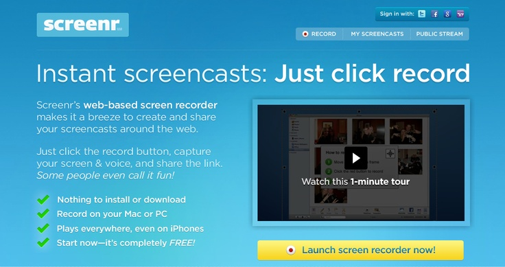 Use the free website Screenr to record instant screencasts of up to five minutes.