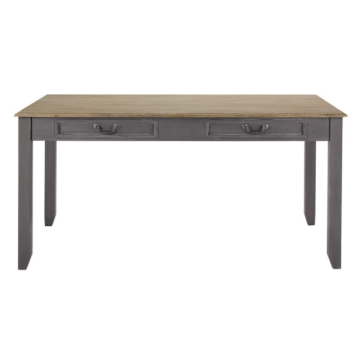 Table avec 2 tiroirs et 1 rallonge en bois, grise L 160 cm à 210 cm : Honorine