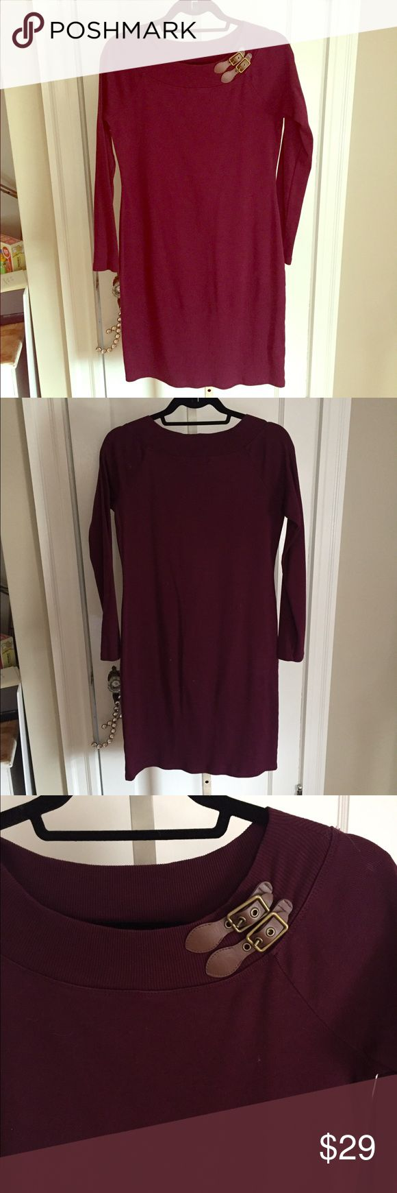 Burgundy Ralph Lauren Dress Long sleeve, hits just below the knee. Buckle detail on the collar. In very good condition. Dresses Long Sleeve
