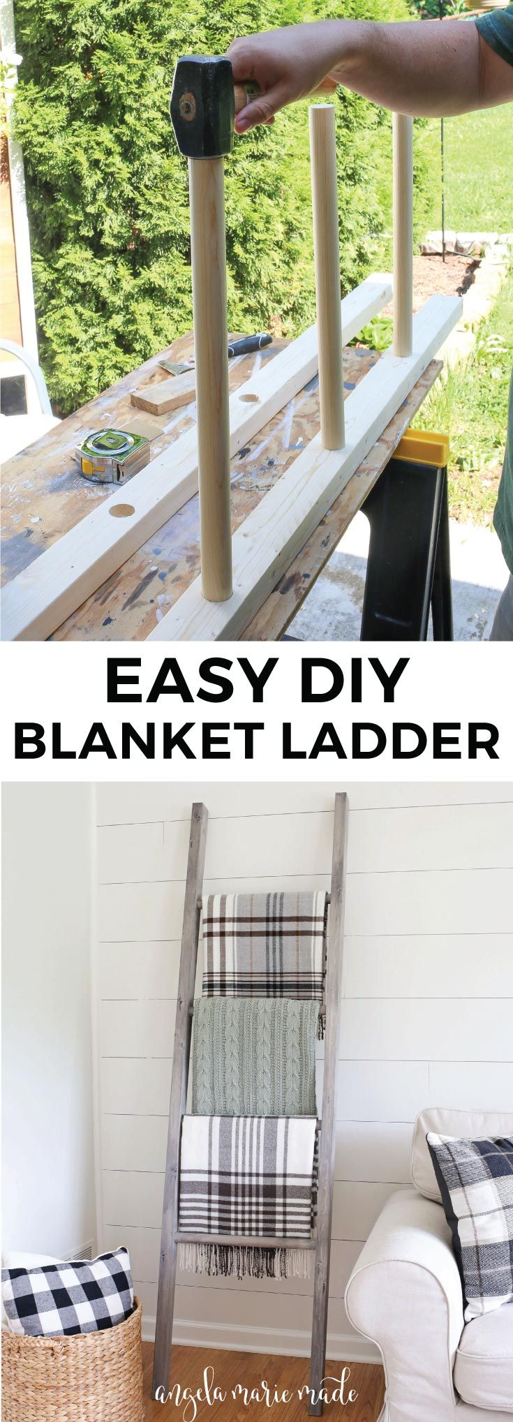 How to easily and quickly build a $15 blanket ladder. This blanket ladder is cozy, functional, and cute living room decor!