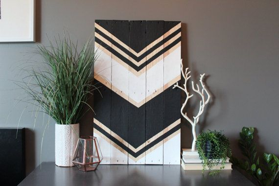Black and white adorn this reclaimed wood art piece. This large piece is 17x29--each completed art piece will vary slightly in size due to the