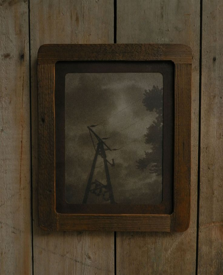 Reclaimed wood frame, encaustic photography, rusty sheet metal passe partout, 43x53 cm. Made in Zahrada.