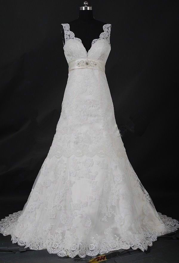 Custom wedding  gown dress  lace a line plus  or any size slimming white ivory