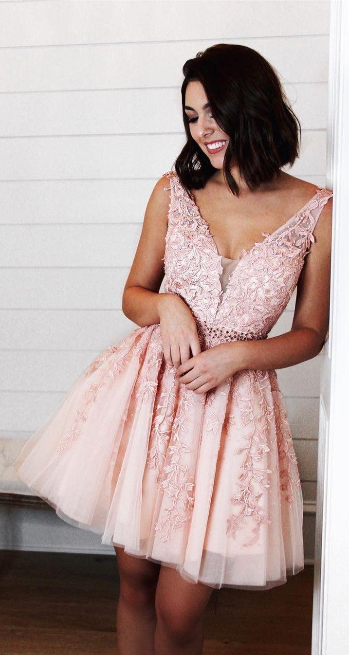 Prinzessin rosa kurze Heimkehr Kleider mit Applikationen, schicke