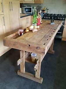 Large vintage carpenter's workbench kitchen i…