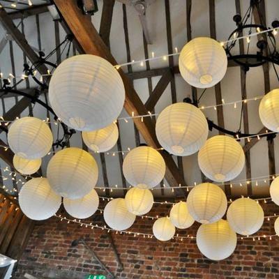12 Pack   16″ White Round Chinese Paper Lanterns