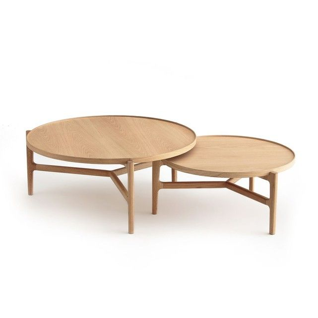 Table Basse O74 Cm Chene Alyasa Table Basse Table Basse Ronde Table De Salon