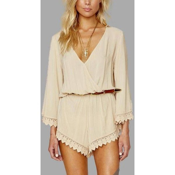 Yoins Beige V-neck Lace Trim Sexy Playsuit ($21) ❤ liked on Polyvore featuring tops, beige, v neck 3 4 sleeve top, lace trim top, sexy going out tops, 3/4 sleeve tops and brown top