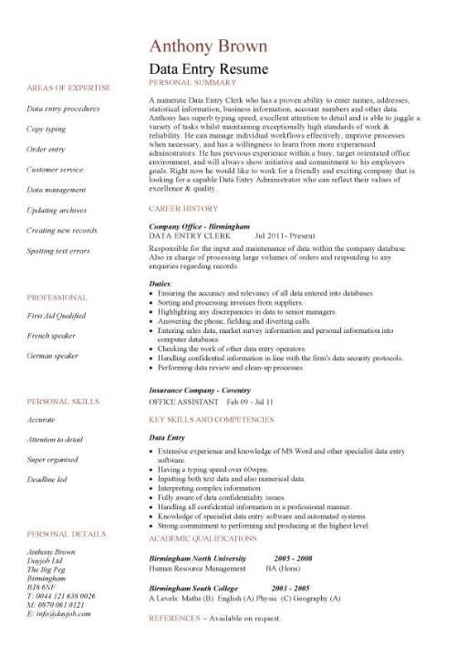 Data Entry Responsibilities Resume - The best estimate professional