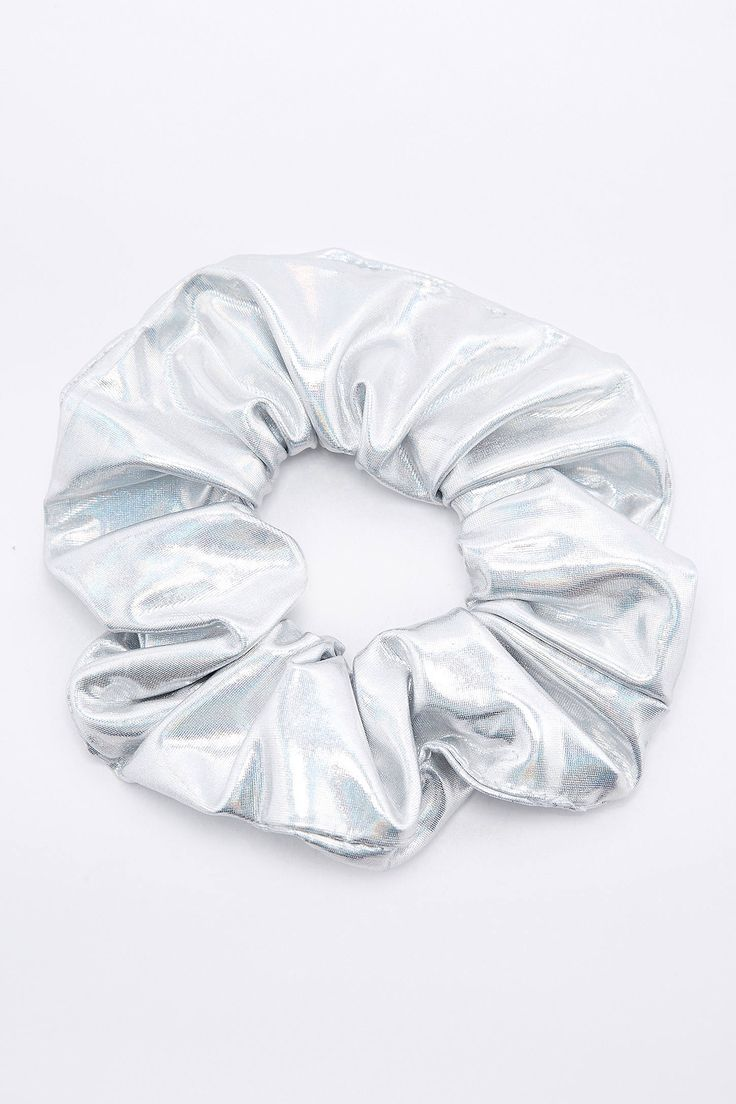 Slide View: 1: Holographic Silver Scrunchie Hair Band