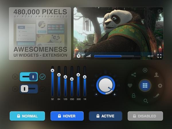 Awesomeness UI & Widgets Extension by Luis M Ruiz, via Behance