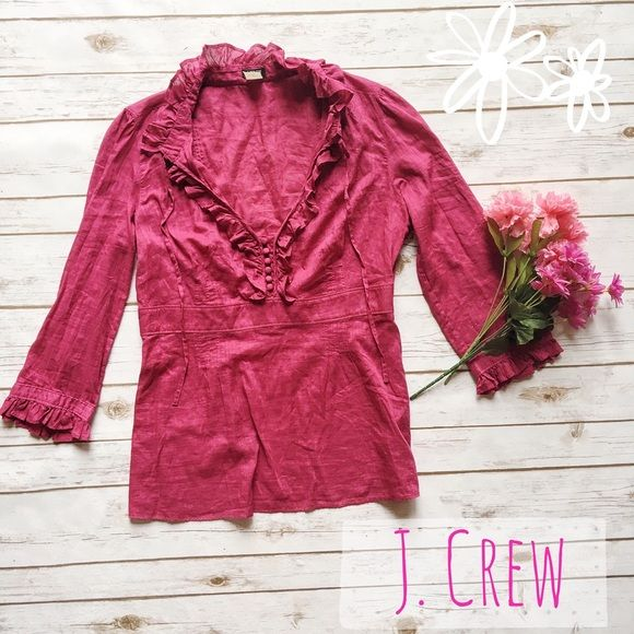 J. Crew Pink Festival Blouse  ★ EUC, with no flaws whatsoever!  ★ Super cute blouse with buttons and a tie around the neck! Perfect for festival  season and spring!  ★ 100% Cotton. ★ NO TRADES!  ★ YES OFFERS! ✅ ★ Measurements available by request.  J. Crew Tops Blouses
