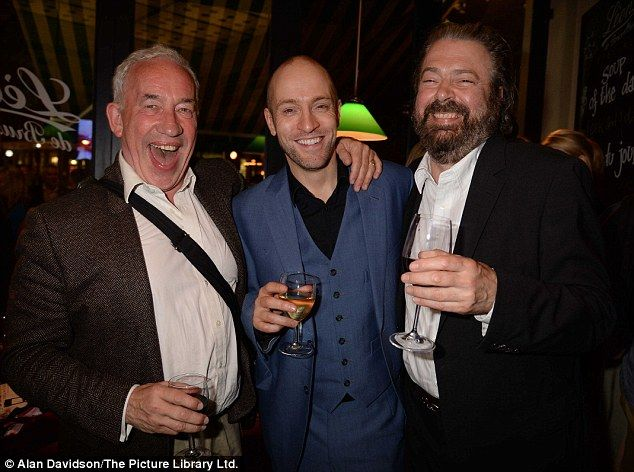 """Simon Callow, Derren Brown, and Roger Allam (THAT SMILE!) at the after party at Leon de Bruxelles for Derren's show """"Infamous"""" about his rise from bullied school boy to successful illusionist. 1/7/13. PS Simon and Roger are BFFS! Here's the link to the article: http://www.dailymail.co.uk/tvshowbiz/article-2353382/Derren-Brown-celebrates-new-boyfriend--celebrity-fans-attend-gala-night.html"""