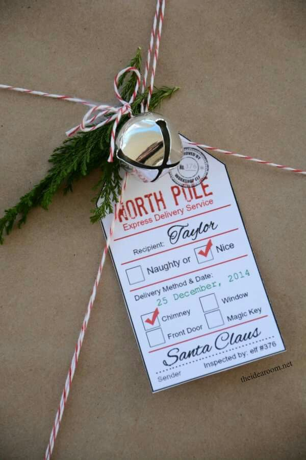 Printable tags from Santa. Just wait until I have kids!  http://www.theidearoom.net/2014/12/santa-gift-tag-printables.html