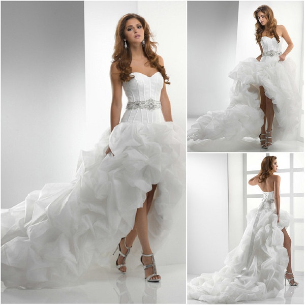 Big Pleated Beaded Sash Long Train High Low Wedding Dress With Boots