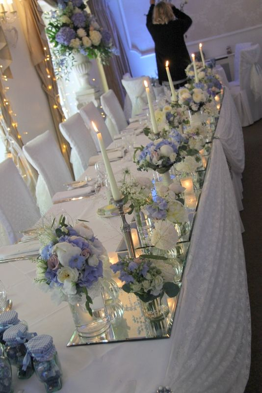 The Top Table Looked Magical With Posies Of Fresh Flowers Set On Mirrors Illuminated By Candlesticks And Candlelit Votives Backyard Weddings In 2018