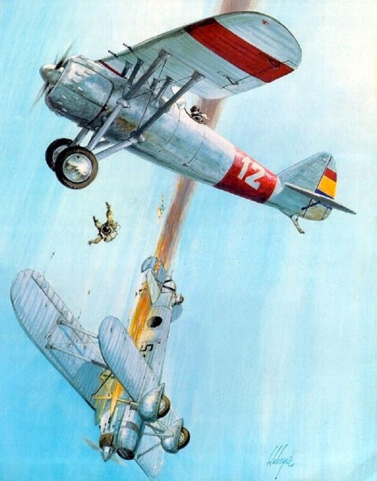 Dewoitine D 371 killing a Cr-32 over Spain