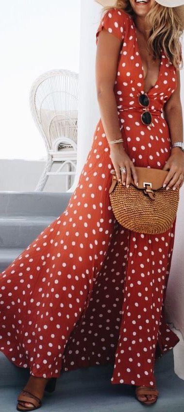 Lovely polka dot maxi wrap dress