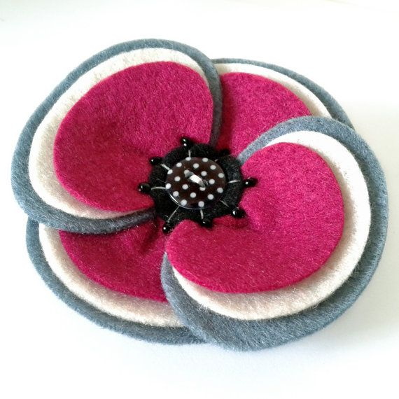 Felt Flower Corsage  Retro Ripple Felt Pin Brooch by madebylolly, £16.00
