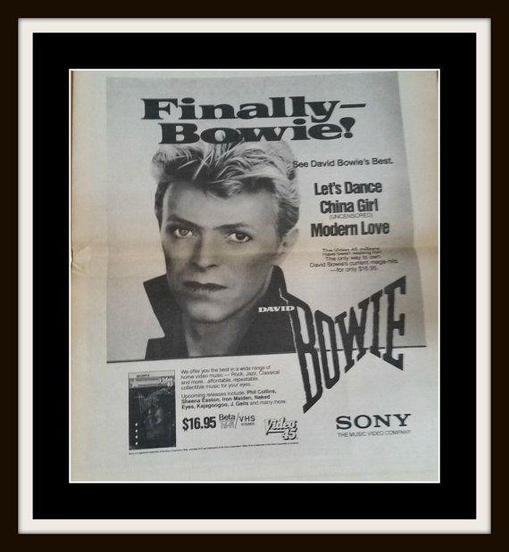 BOWIE 1984 Print David Bowie's Best Black by PopcornVintageByTann