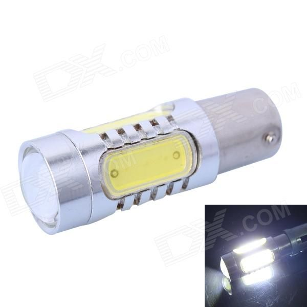 Color BIN: White; Brand: N/A; Model: N/A; Quantity: 1 Piece; Material: Aluminum alloy; Color: Others,Silver + yellow; Emitter Type: LED; Chip Brand: Others,NO; Chip Type: 1157; Total Emitters: 5; Power: Others,11W; Color Temperature: 6000-6500 K; Theoretical Lumens: 600 lumens; Actual Lumens: 400 lumens; Rate Voltage: 12-24V; Waterproof Function: No; Connector Type: Others,1157; Application: Backup light,Steering light; Packing List: 1 x LED car light; http://j.mp/1ljJTeC