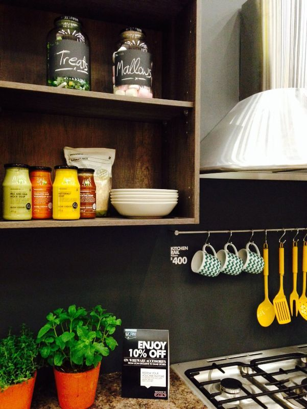 Powder coated utensils hung from uCAN;s kitchen rail - a simple way to style your kitchen. @Nicky Day.net