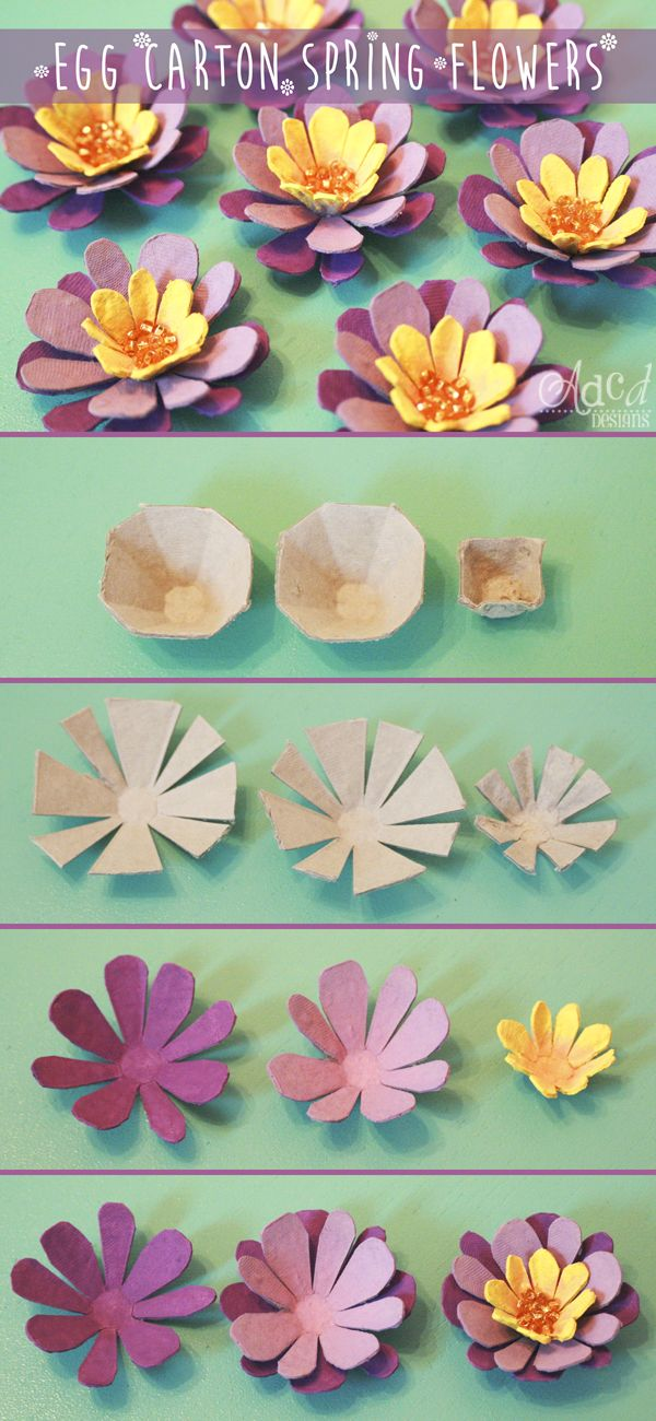 Egg Carton Spring Flowers