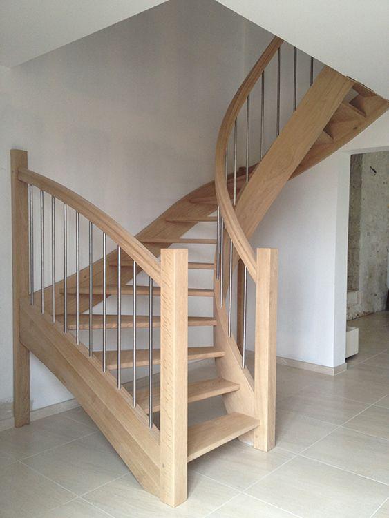 escalier courbe - chêne et inox   stairs loft, staircase   escalier