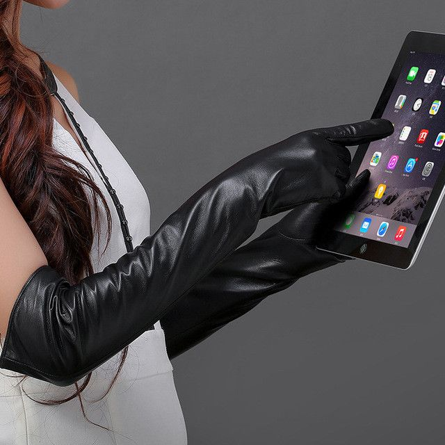 2017 Fashion Women Long Leather Gloves Touch Screen Genuine Leather Ladies Gloves Touchscreen Women Winter Sheepskin Glove