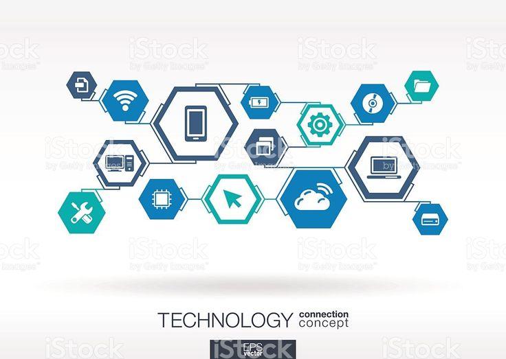 Tecnologia rete. Esagono Sfondo astratto con linee, poligoni, integrare e icone. illustrazione royalty-free