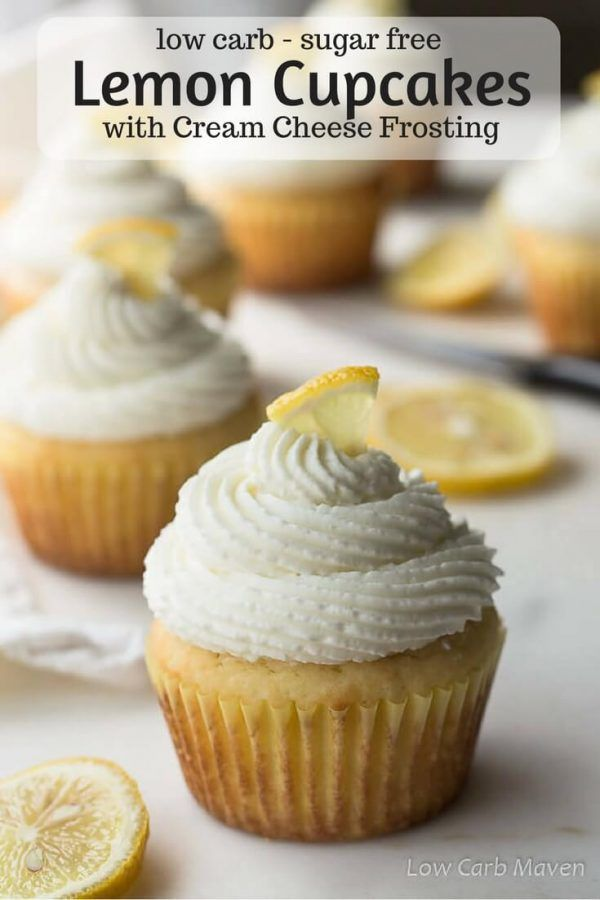 Fluffy sugar-free cupcakes with lemon topped with whipped cream cheese frosting for low carb and keto diets.