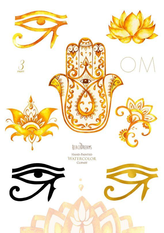 Watercolor Clipart Hamsa All Seeing Eye Lotus India Hamsa Hand