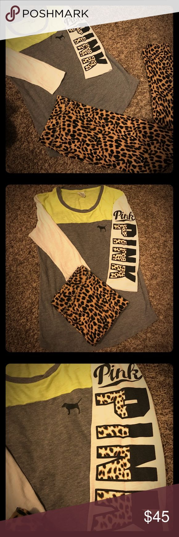 Vs pink cheetah outfit bundle😘 Cheetah leggings and half sleeved with neon yellow and pink cheetah on the sleeve going down EUC shirt with no flaws. leggings NWOT. No flaws unused UFT as well as selling. PINK Victoria's Secret Pants Leggings