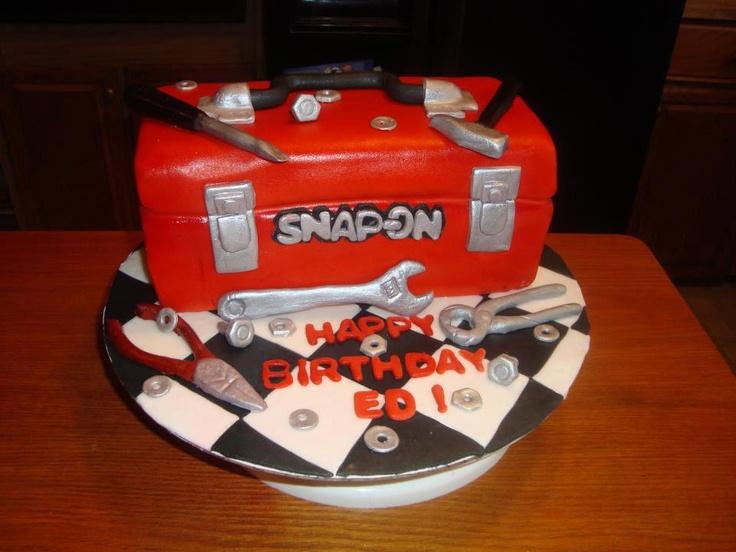 snap-on toolbox cake with fondant tools, birthday cake