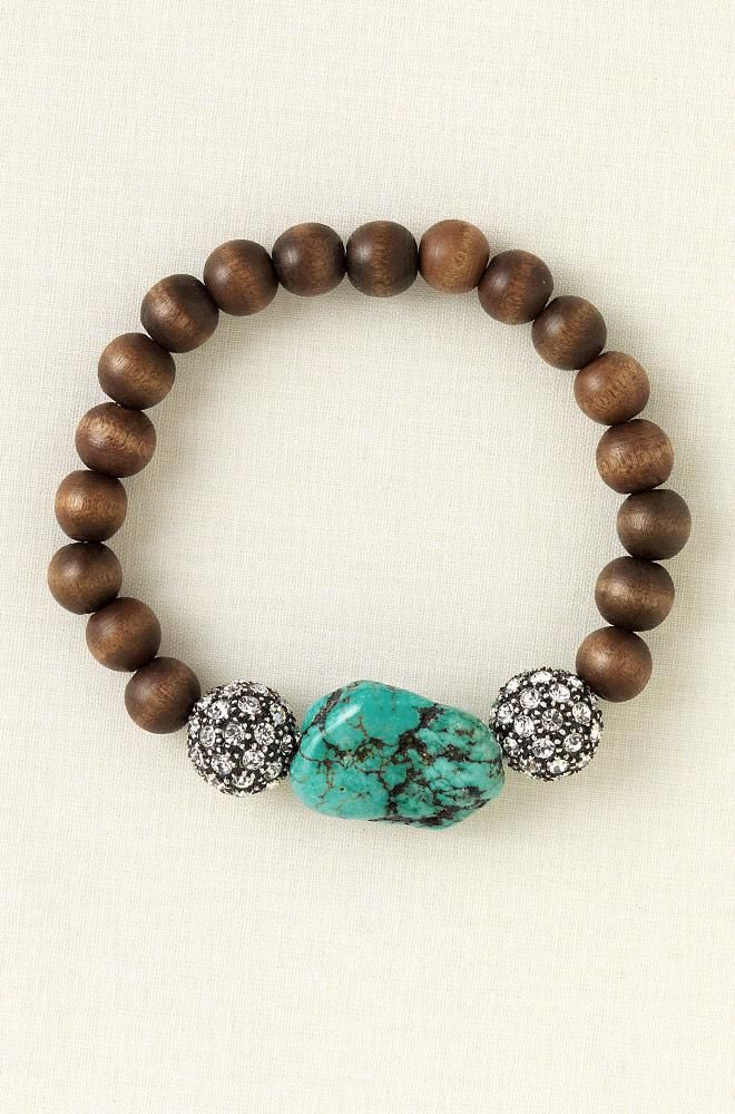 Turquoise, Wood And Bling Stretch Bracelet