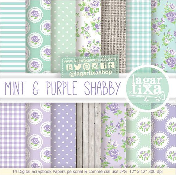 Shabby Chic Patterns Digital Paper Romantic Vintage pastel Purple white wood lavender green mint turquoise aqua invitations blog patterns