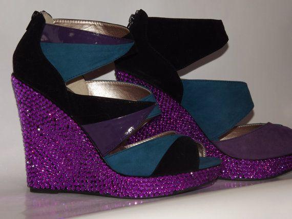 Rhinestone Wedge Color Block Purple Heels Sandals by EVRhinestones, $95.00