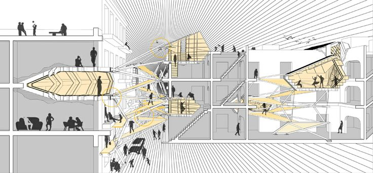 Section perspective architectural collage hybrid for Architecture hybride
