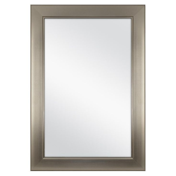Home Decorators Collection 24 In W X 35 In H Framed Rectangular Anti Fog Bathroom Vanity Mirror In Modern Nickel 81156 The Home Depot Home Decorators Collection How To Clean Mirrors Frames On Wall