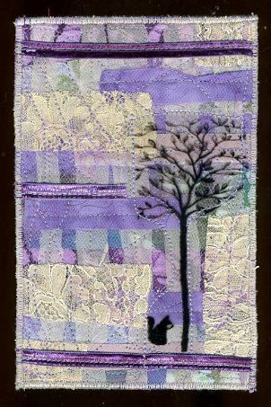 fabric postcard art mini quilt Tree and Squirrel by twocooltexans, $12.99