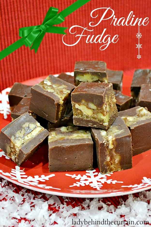 IT'S CHRISTMAS TIME AND THAT MEANS FUDGE! :) A layer of praline fudge sandwiches between two layers of chocolate fudge. So good! A must for your holiday