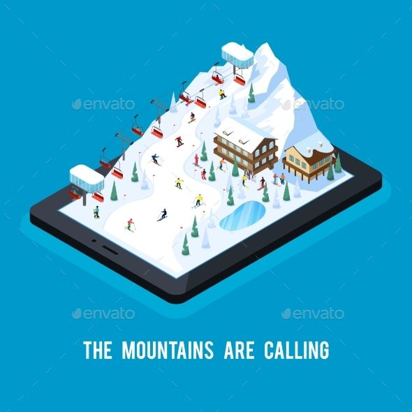 Ski Online Resort Concept by macrovector Skiing resort isometric conceptual composition with snowy mountain scenery with ropeway on top of tablet screen vector illustratio
